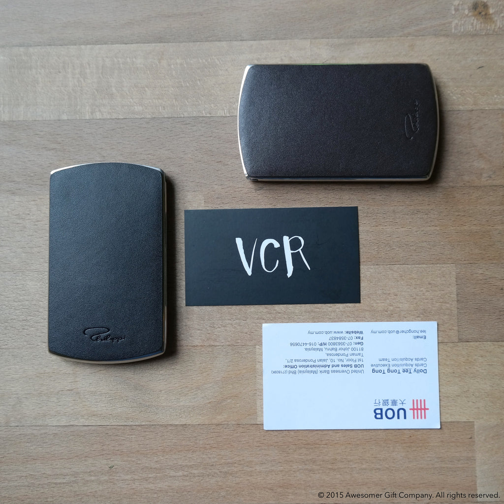 Awesomer Leather Business Card Dispenser