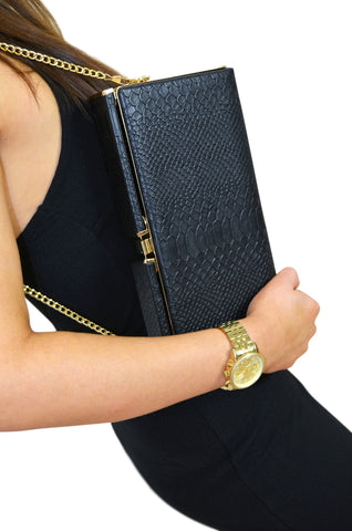 Mimi & Thomas Black Snakeskin Embossed Clutch