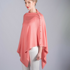 Mimi & Thomas Coral Pink Cashmere Shawl