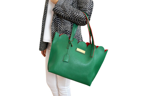 Green Scallop Edge Tote Handbag