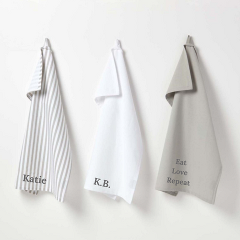 Personalised Cotton Grey Tea Towels Set of 3