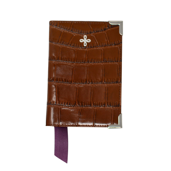 Brown Croc Embossed Leather Passport Holder