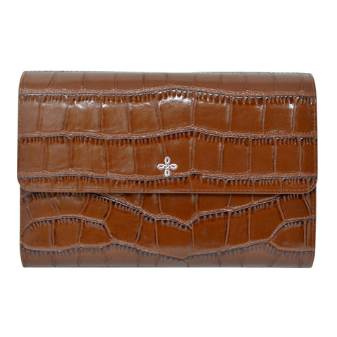 Brown Croc Embossed Leather Travel Wallet