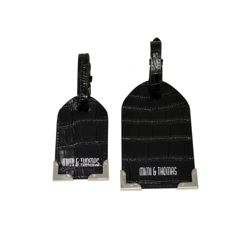 Black Croc Embossed Leather Set of 2 Luggage Tags