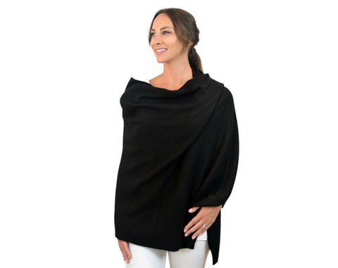 Charcoal Grey 100% Pure Cashmere Multi-ways Button Poncho Travel Wrap