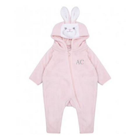 Personalised Pink Baby Rabbit Hooded Onesie