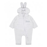 Baby White Rabbit Hooded All in One Onesie