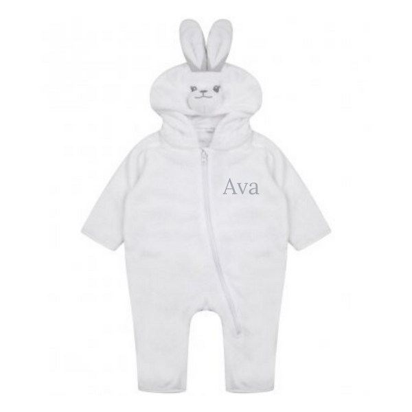 Personalised White Rabbit Hooded Onesie