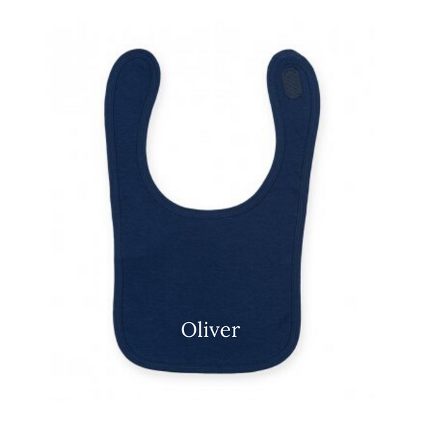 Personalised Navy Cotton Bibs