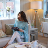 Personalised Aqua Blue Pure Cashmere Button Poncho