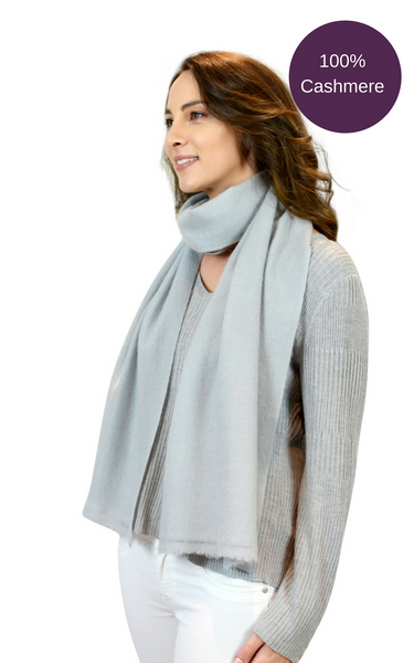 Pure Cashmere Woven Scarf - Grey