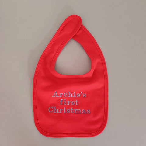 Personalised Red Cotton Bib