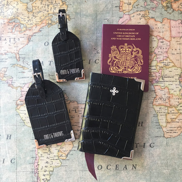 Black Crocodile Embossed leather passport cover and luggage tags set