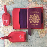 Red nappa leather passport cover and luggage tags set