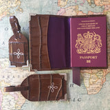 Brown Crocodile embossed leather passport cover and luggage tags set