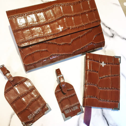 Brown crocodile embossed leather passport cover, travel wallet and luggage tags