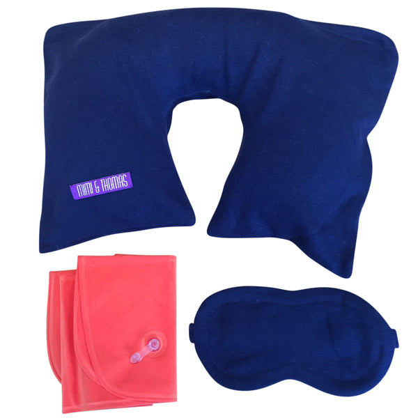 Pure Cashmere Travel Pillow & Eye Mask- Navy