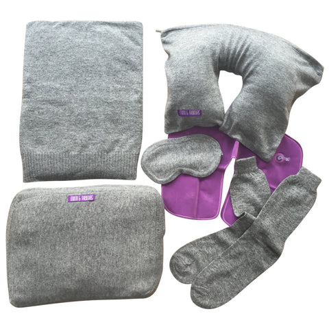 Grey luxurious 5pcs pure cashmere travel set blanket, socks, eye masks, pillow in a case