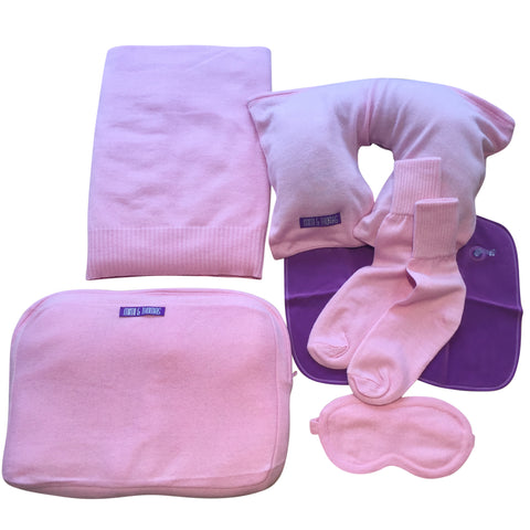 Pink luxurious pure cashmere travel set blanket, socks, eye masks, pillow in a case