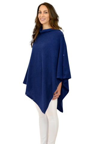 Navy 100% Cashmere Button Poncho