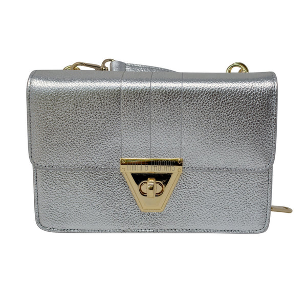 Silver Leather Cross Body Bag with Purse