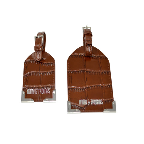Brown Croc Embossed Leather Set of 2 Luggage Tags