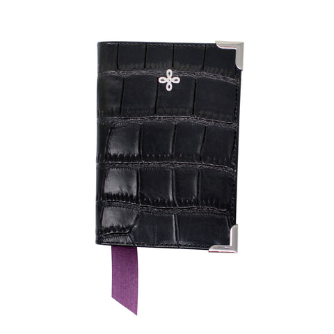 Black Croc Embossed Leather Passport Cover