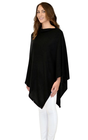 Personalised Black Pure Cashmere Button Poncho