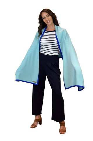 Aqua Royal Blue Accent 100% Cashmere Wrap