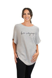Grey Bon Voyage cashmere cotton mix poncho with sleeves