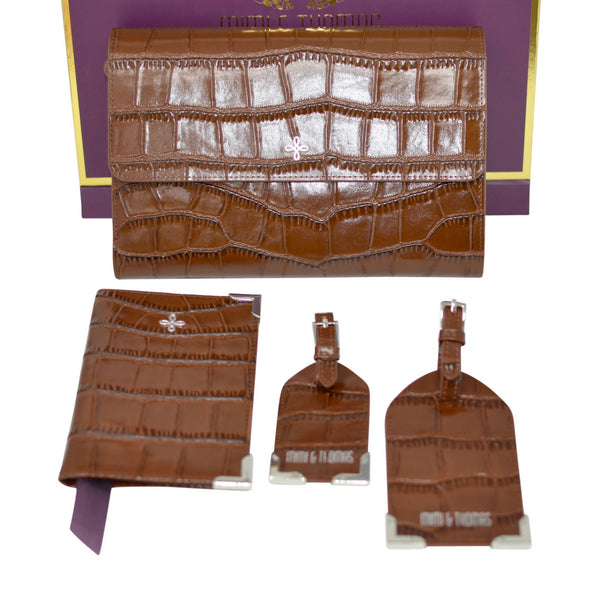 Mimi & Thomas brown croc embossed leather 4pcs travel accessories gift set