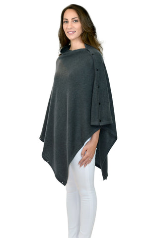 Charcoal 100% Cashmere Button Poncho
