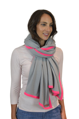 Grey Neon Pink Accent 100% Cashmere Wrap