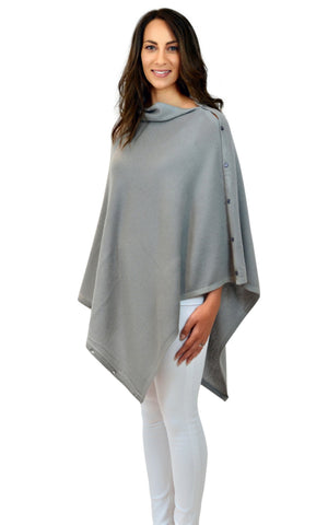 Personalised Grey Pure Cashmere Button Poncho