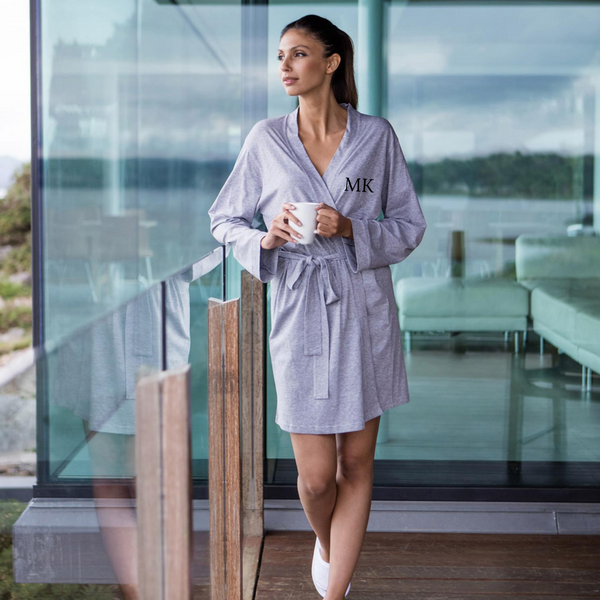 Personalised Grey Cotton Robe
