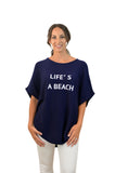 Navy Life's a beach cashmere cotton poncho with sleeves