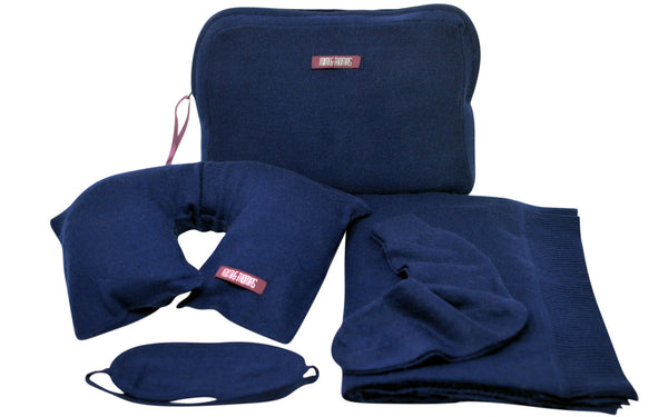 Navy luxurious pure cashmere travel set blanket, socks, eye masks, pillow in a case