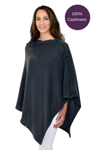 100% Cashmere Button Poncho- Charcoal