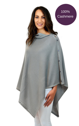 Grey pure cashmere multi ways button poncho travel wrap