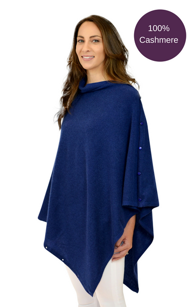 Navy pure cashmere multi ways button poncho travel wrap