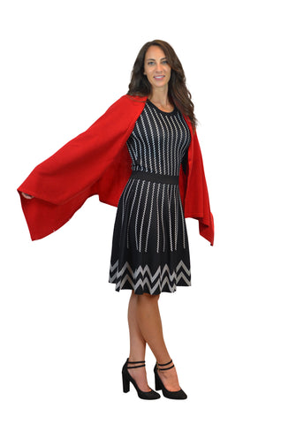 Red 100% Cashmere Button Poncho
