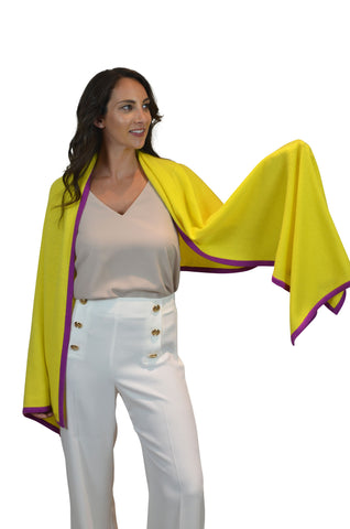 Yellow Purple Accent 100% Cashmere Wrap