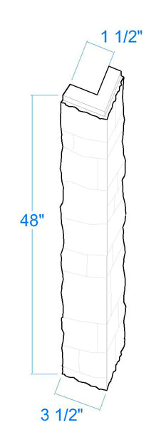 """Carolina Joint Outside Corners Dimensions: 48"""" High x 3 1/2"""" Wide x 1 5/8"""" Thick"""
