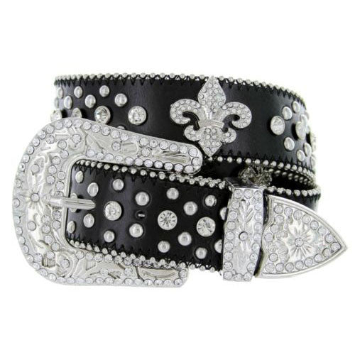 Cowgirl Studded Rhinestone Leather Belt
