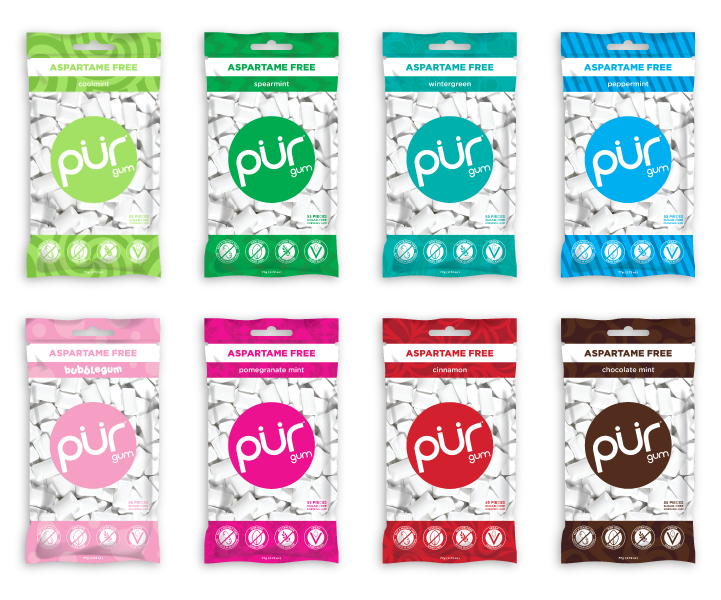 8 Gum Bag Variety, , PUR Gum, PUR Gum, PUR Gum, aspartame free gum, sugar free gum, pack of gum, packs of gum, chewing gum, natural gum, xylitol gum