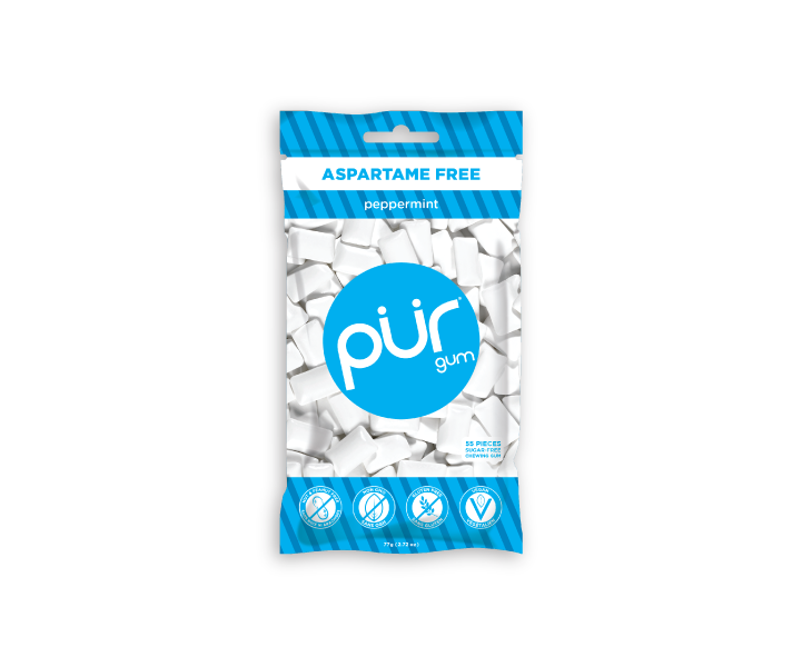 Single Resealable Gum Bags, Peppermint, , The PUR Company, PUR Gum, aspartame free gum, sugar free gum, pack of gum, packs of gum, chewing gum, natural gum, xylitol gum - 4