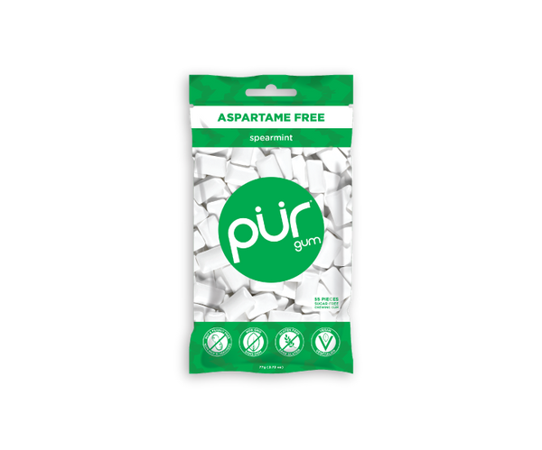 Single Resealable Gum Bags, Spearmint, , The PUR Company, PUR Gum, aspartame free gum, sugar free gum, pack of gum, packs of gum, chewing gum, natural gum, xylitol gum - 1
