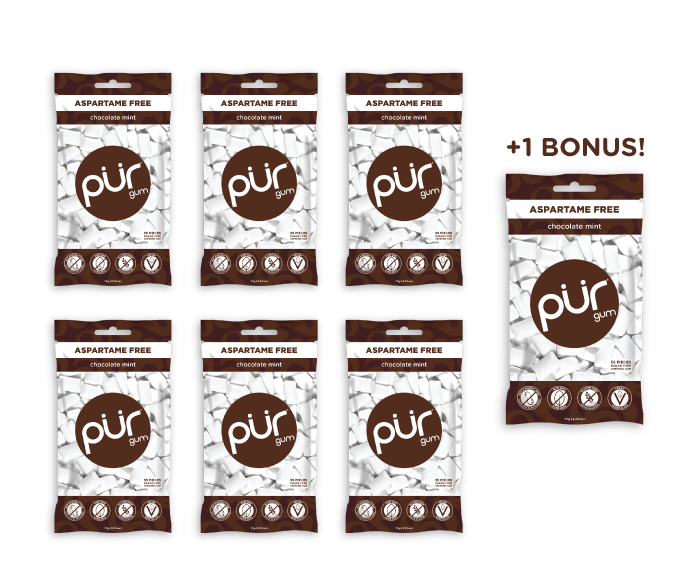 6  Bags + 1 Bonus Bag, Chocolate Mint, , The PUR Company, PUR Gum, aspartame free gum, sugar free gum, pack of gum, packs of gum, chewing gum, natural gum, xylitol gum - 8
