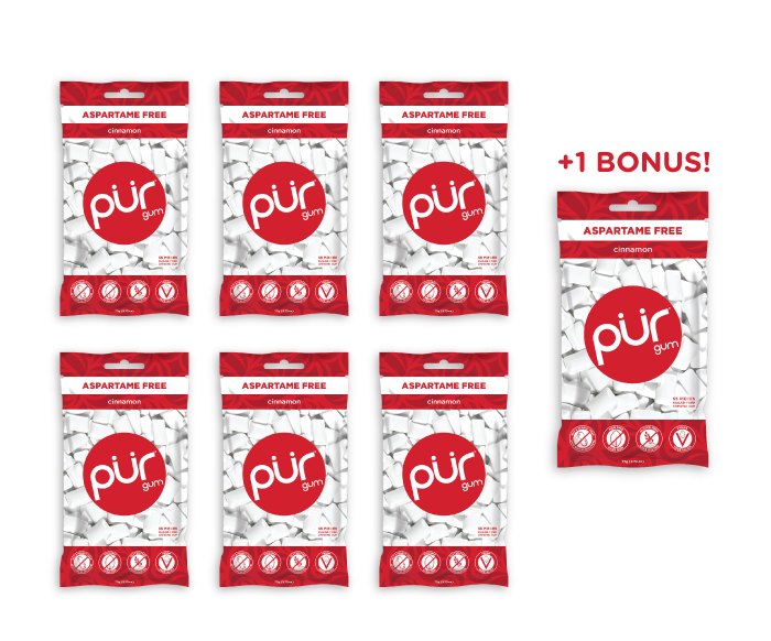 6  Bags + 1 Bonus Bag, Cinnamon, , The PUR Company, PUR Gum, aspartame free gum, sugar free gum, pack of gum, packs of gum, chewing gum, natural gum, xylitol gum - 7
