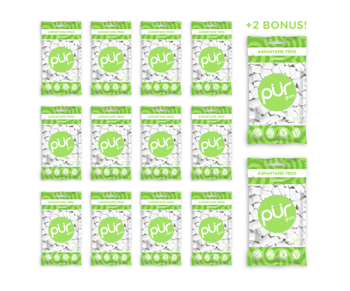 12 Bags + 2 Bonus Bags, Coolmint, , The PUR Company, PUR Gum, aspartame free gum, sugar free gum, pack of gum, packs of gum, chewing gum, natural gum, xylitol gum - 4